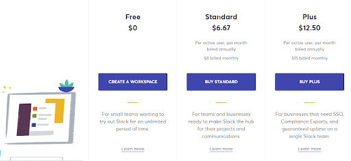 Slack Pricing Page